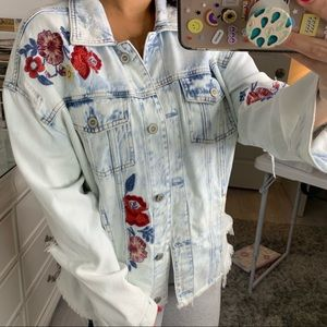 Hollister light wash floral jean jacket